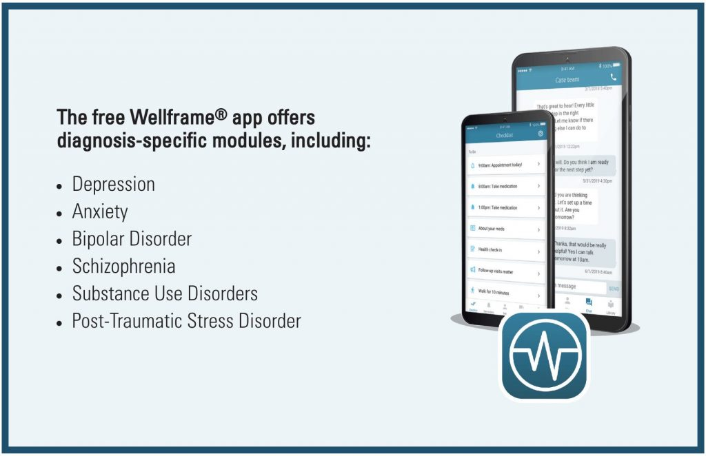 The free Wellframe® app offers diagnosis-specific modules, including: depression, anxiety, bipolar disorder, schitzophrenia, substance use disorders and post-traumatic stress disorder.